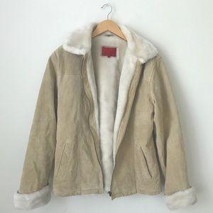 Tan suede zip up jacket